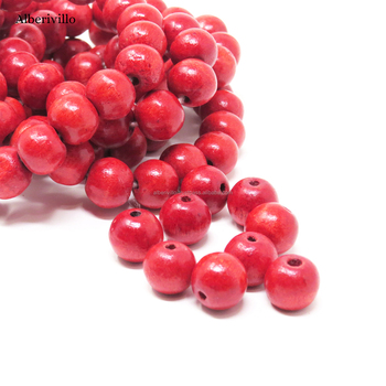 Red Designer Wooden Beads High Quality Jewelery Making Craft Beads Round Ball Beads