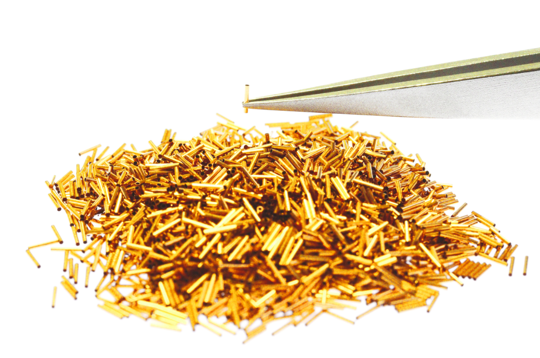 High quality fine gold clad tubes for semiconductor testing devices