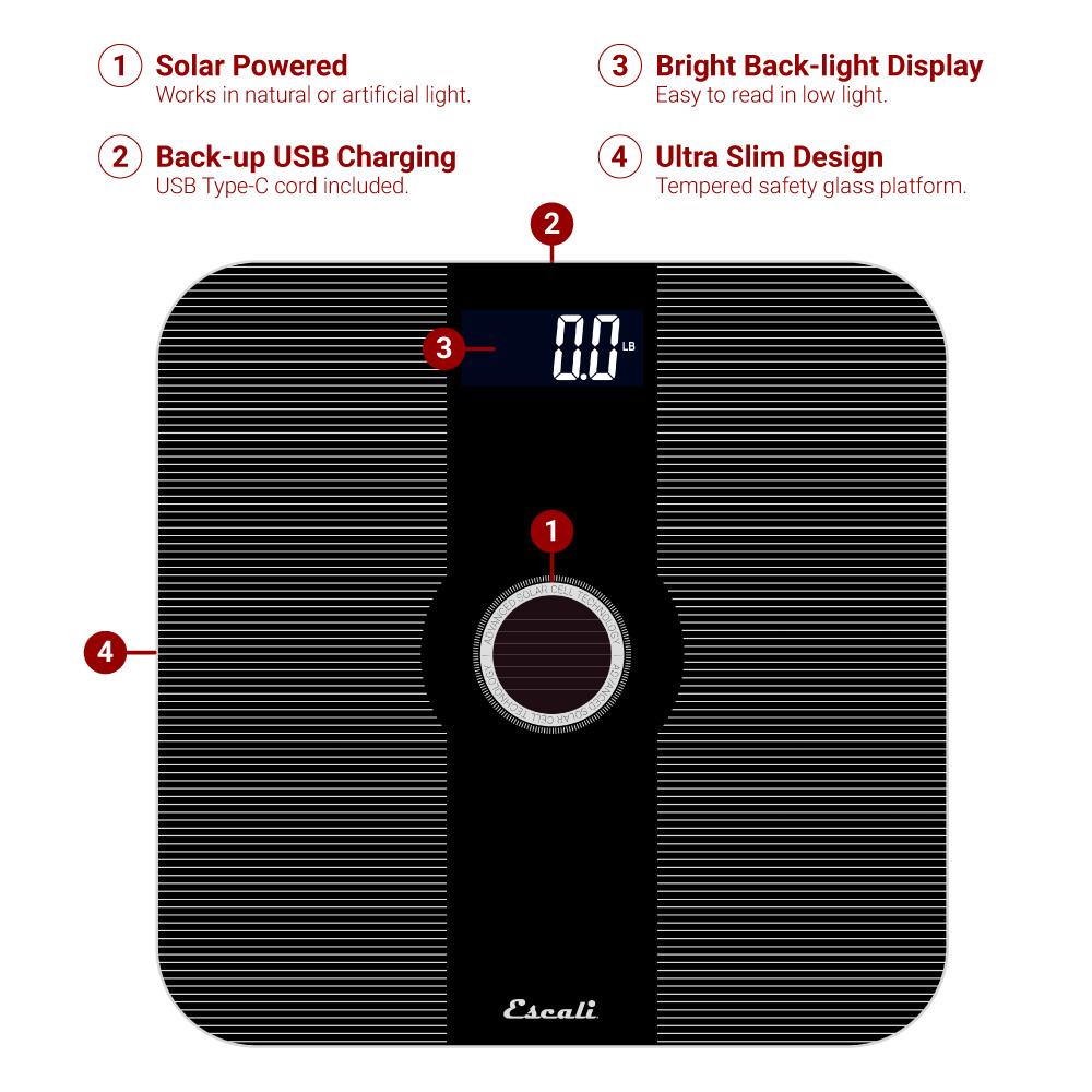 Solar USB Bathroom Scale