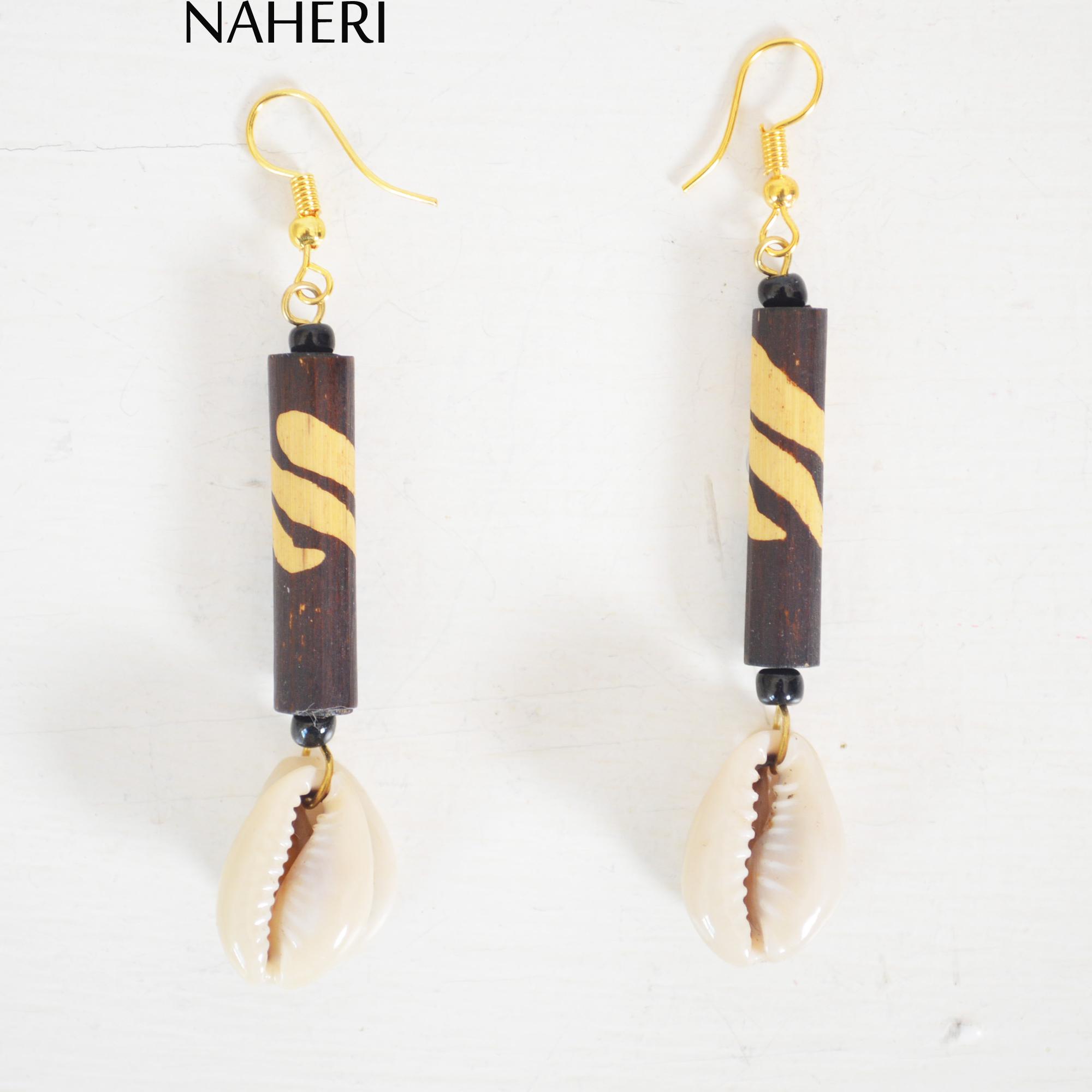 African Fabric Tribal Earrings  Tassels Cowrie Shells Earrings  Statement Earrings  for Pierced Ears