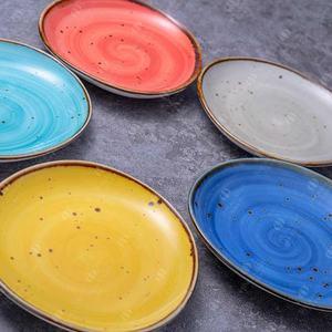 High quality colorful glazed dinnerware white vaisselle ceramic porcelain dinner plates for restaurants