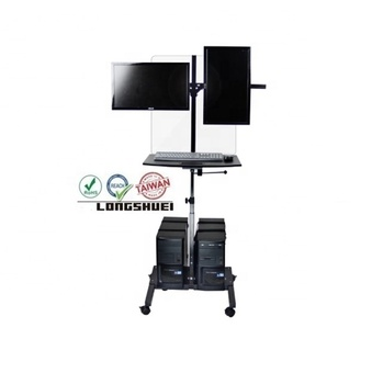 Lcd pc cart with camera tray and dividing wall dual screen height adjustable mobile workstation network in classroom library