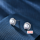 Pearl Earrings E7 Classcial Jewelry Korean Style Joyeria Silver 925 Plated Rose Gold Freshwater Perfect Shape Round Pearl Earrings