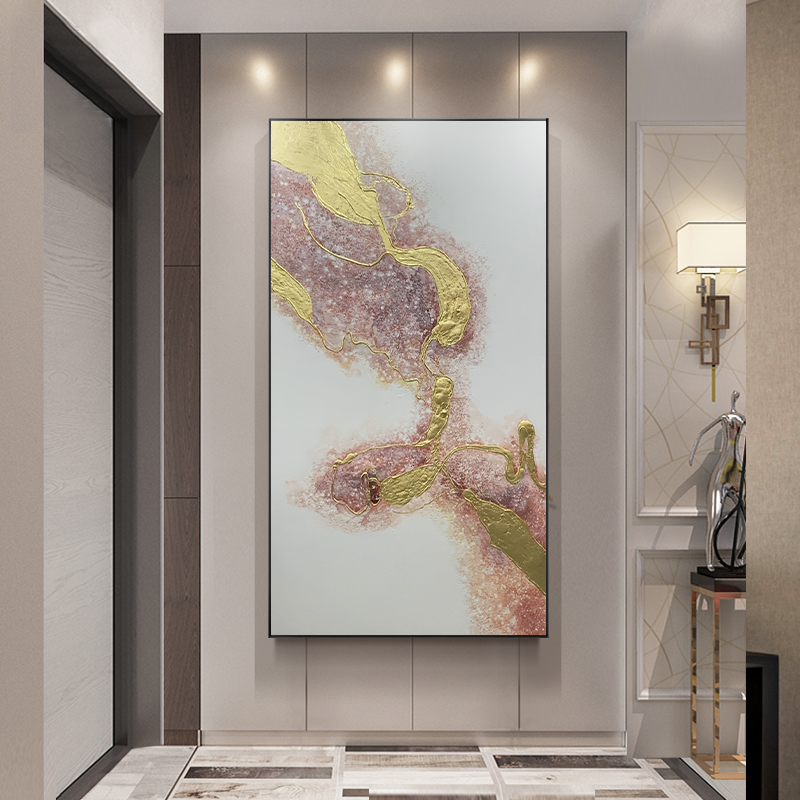 Pink Wall Painting For Living Room Wall Modern Painting Handmade Gold Foil Abstract Hotel  20*30 inch