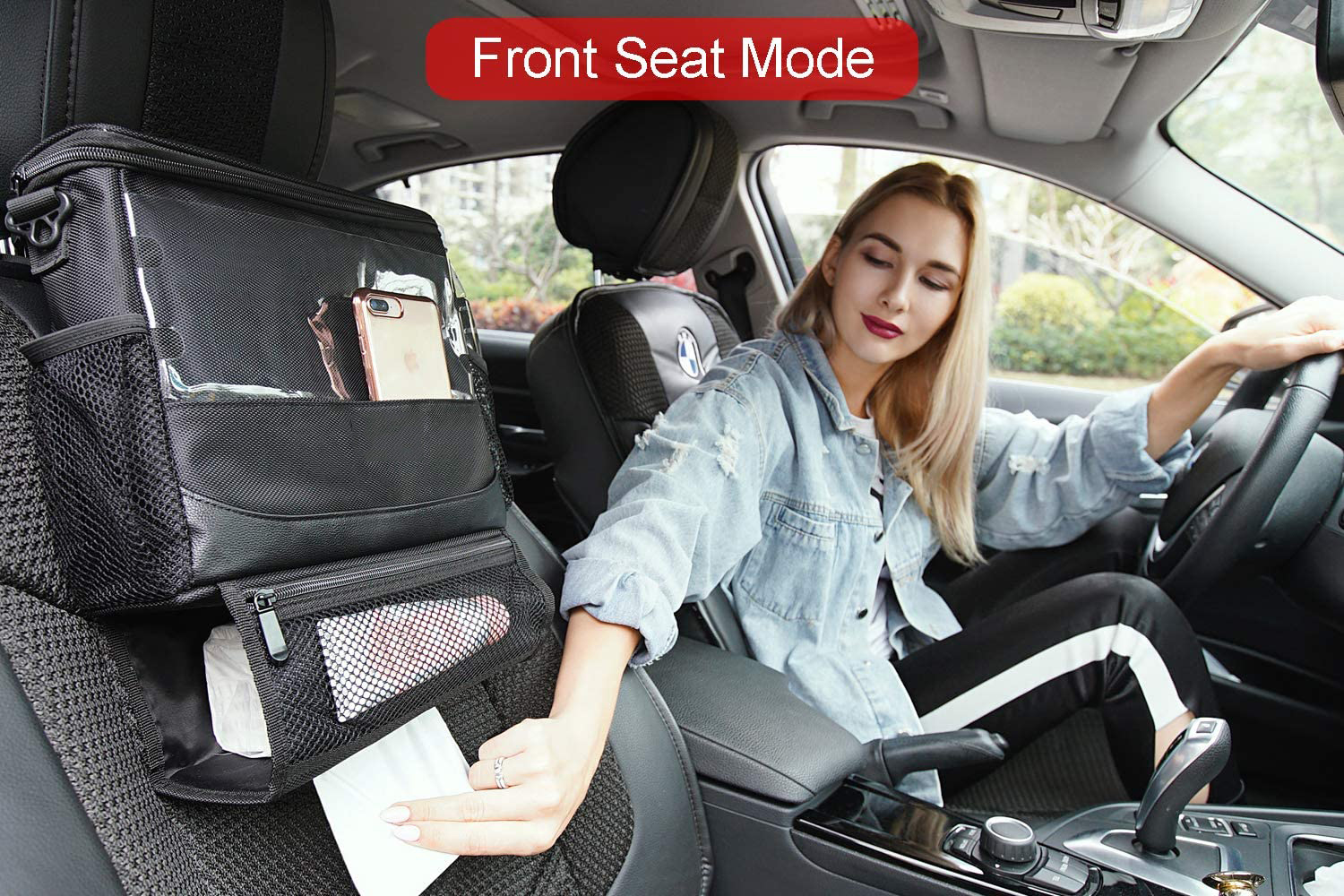Seat Back Organizer for Car, Cooler with Cell Phone iPad and Tissue Holder, Backseat Watertight Insulated Lunch Bag