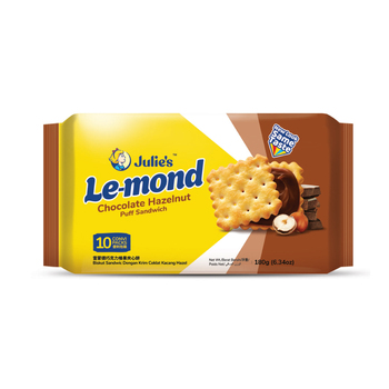 Malaysia Halal Julie's Le-Mond Puff Chocolate Hazelnut Sandwich Biscuits (180g x 24 )