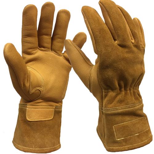OEM men Labor protection Lumberjack Sheepskin leather working glove